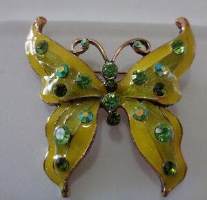 Green-amp-gold-enamel-jewelled-Butterfly-brooch-Aussie-seller-Brand-new