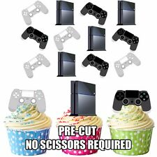 Item 4 PRECUT PS4 Console Controller 12 Edible Cupcake Toppers Birthday Decorations