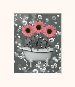 Pink Gray Wall Decor Sunflowers In Bathtub Decorative Bathroom Wall Art Ebay