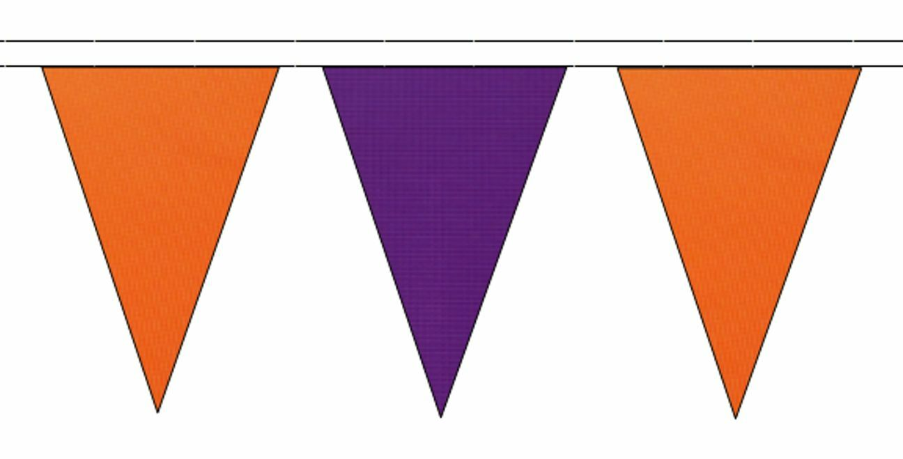 naranja & púrpura Triangular Flag Bunting - 50m with 120 Flags