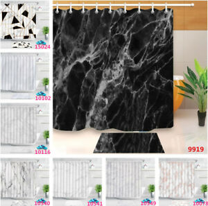 Abstract-Marble-Texture-Waterproof-Fabric-Shower-Curtain-Bath-Accessory-Sets