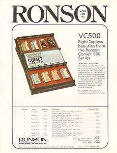 VINTAGE-AD-SHEET-1873-RONSON-VARAFLAME-BUTANE-LIGHTERS-COMET-500-SERIES-VC500