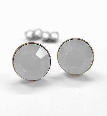 VertrauenswüRdig Neu Titan Ohrstecker 8mm Swarovski Steine In White Opal/weiß Ohrringe Ausreichende Versorgung