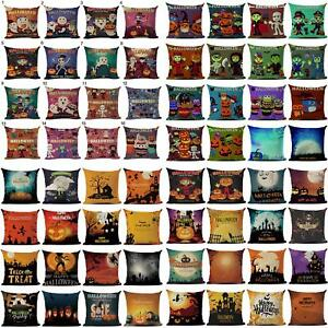 Am-CO-ALS-Halloween-Pumpkin-Witch-Linen-Cushion-Cover-Square-Pillow-Case-Home