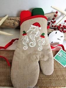 Seahorse Santa S Helpers Oven Mitt Kitchen Towels Gift Set 3