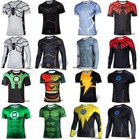 Mens Superhero The Hulk T-shirt Cycling Short Sleeve Jersey Tee Shirt Tops Shirt