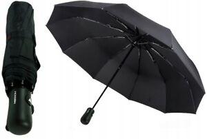 STRONG Automatic Open & Close Compact Windproof Folding Umbrella Fibreglass Ribs