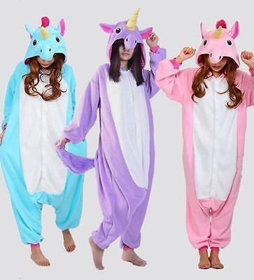 Kigurumi Pijama Unisex Ropa de noche vestido de Cosplay Animal Rosa Unicornio