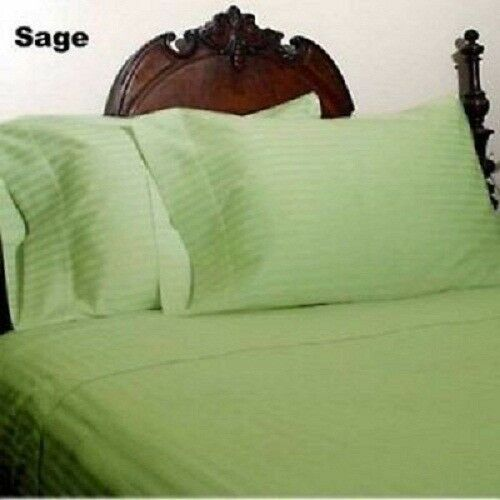 100% Cotton Sage Stripe 400-Thread Count Flat Sheet