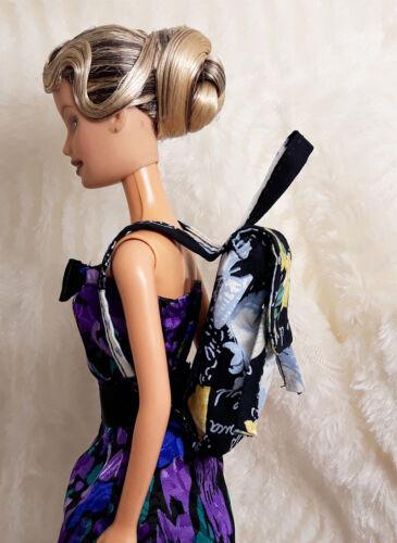 Handmade Black Paris Style Backpack Bag Rucksack For Barbie Doll Blythe