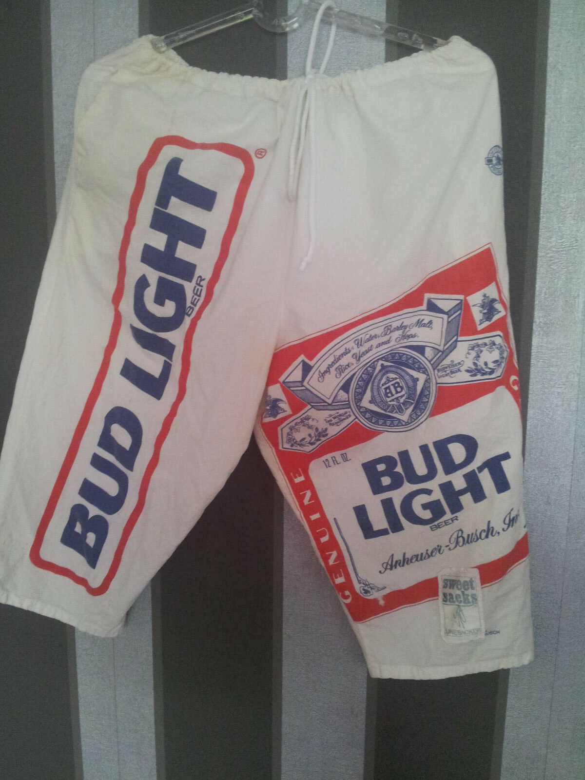 Hose Bermuda weiß rot+blau BUD LIGHT beer Anheuser Anheuser Anheuser Bush Budweiser Linebacker XL 2eb593