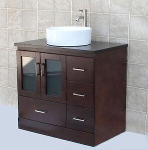 36 Bathroom Vanity Cabinet Matching Wood Top Ceramic