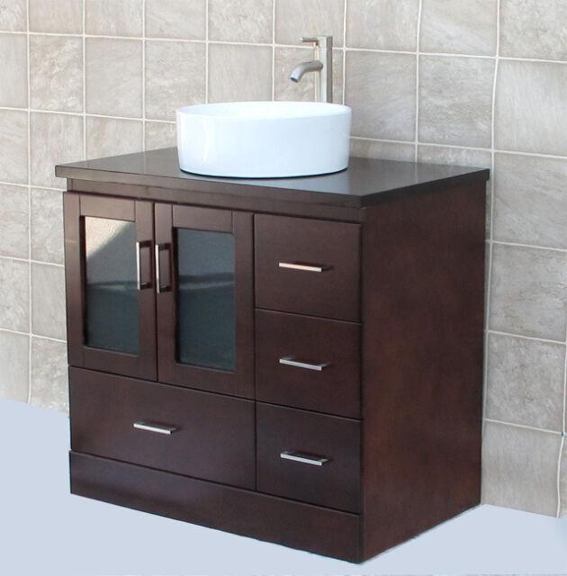 Buy 36 Bathroom Vanity Cabinet Matching Wood Top Ceramic Vessel