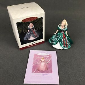 Barbie-Hallmark-Keepsake-Christmas-Holiday-Ornament-Vintage-1995-Green-Dress