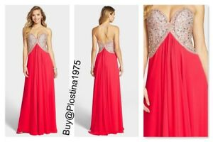 Couture lijfje chiffonjurk Coral Nieuw Terani strapless maat8b65 verfraaid Fc1JTKl