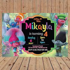 Item 2 Personalised TROLLS DIGITAL Kids Birthday Invitations YOU PRINT