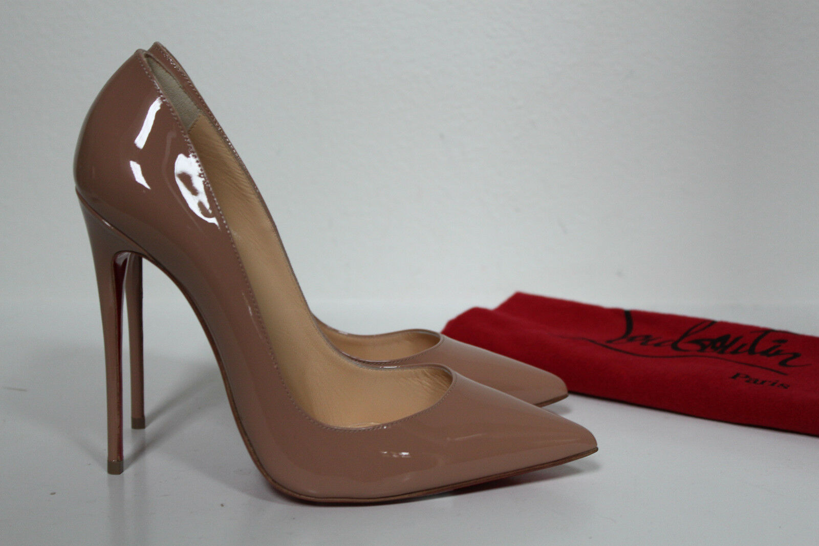 New sz 9.5 9.5 sz / 40 Christian Louboutin Nude Patent So Kate Pointed Toe Pump schuhes f5c0b5