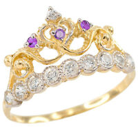 14k Yellow Gold Quinceaã±era 15 Aã±os Conora February Purple White Cz Crown Ring