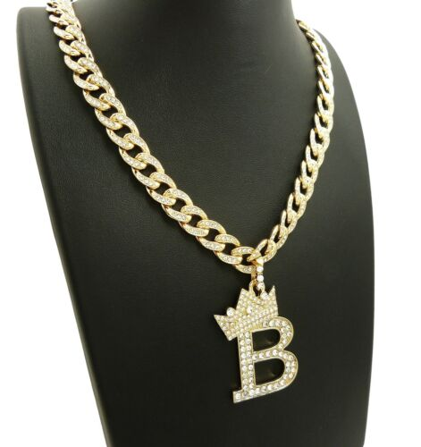 "Iced Out Initial /""B/"" Pendant /& Iced out 10mm 18/"" Cuban Choker Chain Necklace"
