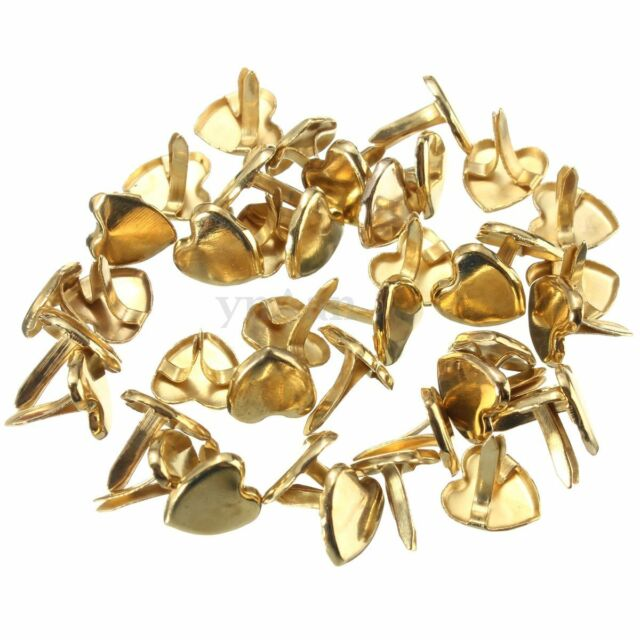 40Pcs 9mm Metal Heart Brass Paper Fasteners Brad Pins. Choice Of Brad Pin