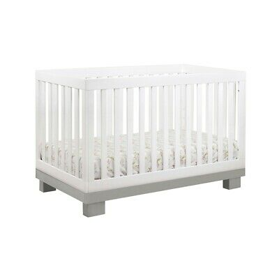 babyletto Modo 3-in-1 Convertible Crib w/ Toddler Bed Kit, Grey/White - M6701GW
