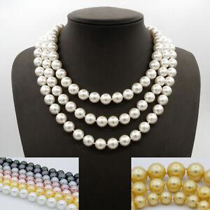 Damen-Perlenkette-Halskette-Muschelkernperle-45-50-55-cm-7-Farben-3-Groessen