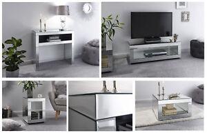 half off fa0a8 347e1 Details about Capri Cube Glass Mirrored Living Range - TV Unit, Console,  Lamp & Coffee Table