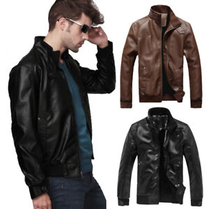 5fad7efd0ad1 Fashion Mens PU-Leather Biker Jacket Motorcycle Collar Slim Fit ...