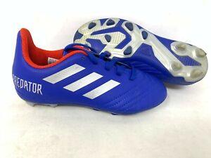 NEW-Adidas-Youth-Boy-039-s-Predator-19-4-FxG-Soccer-Cleats-Blue-Silver-A21-tz