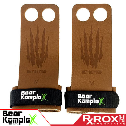 Bear KompleX Tan Leather Pullup GripsCrossFit Palm Protectors Gym Gloves