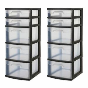 Details About 5 Drawer Storage Tower Set Of 2 Home Organization Cart Plastic Tote Chest
