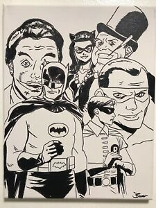 Batman-1966-cast-Adam-West-Burt-Ward-hand-painted-signed-fan-art-Romero-Meredith