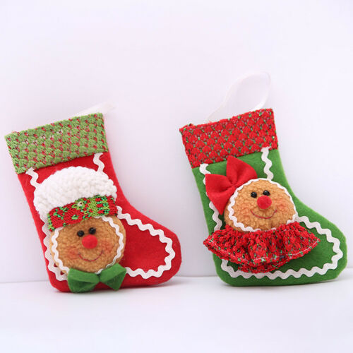 Christmas Santa Sock Gingerbread Man Ornament Party Xmas Tree Hanging Decoration
