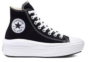 Dettagli su Scarpe donna Converse all star 568497C sneakers alte platform tela chuck taylor