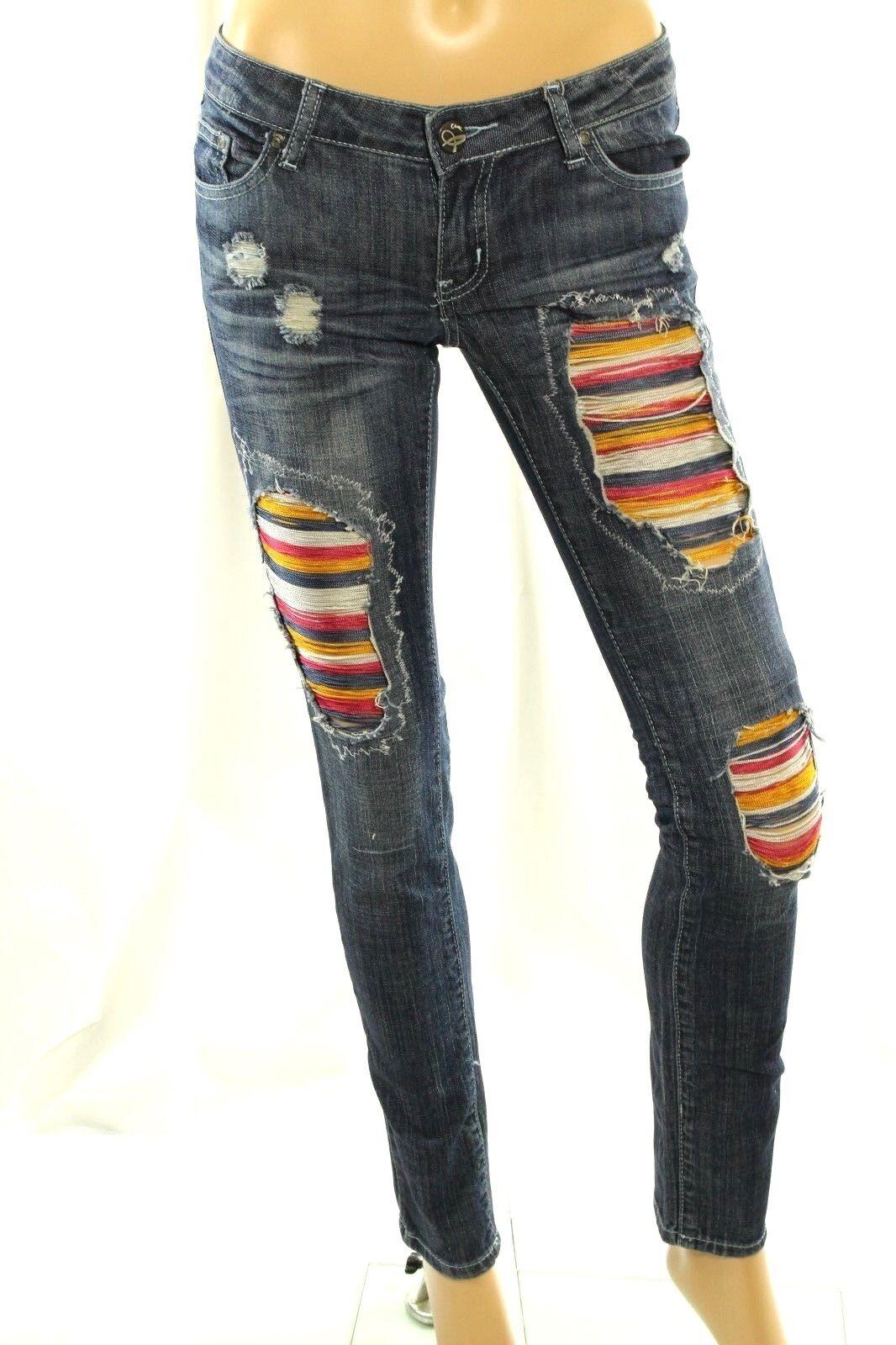 Claudio Milano Damen Jeans Blau Distressed Skinny Stretch Gr. 1 (26)