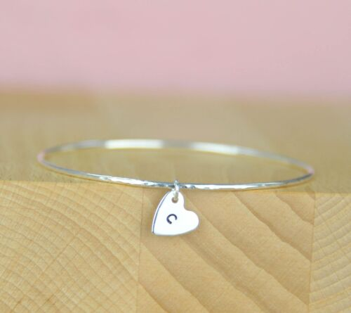 Sterling Silver Solid Hammered Bracelet with box 925 Silver Heart Charm Bangle
