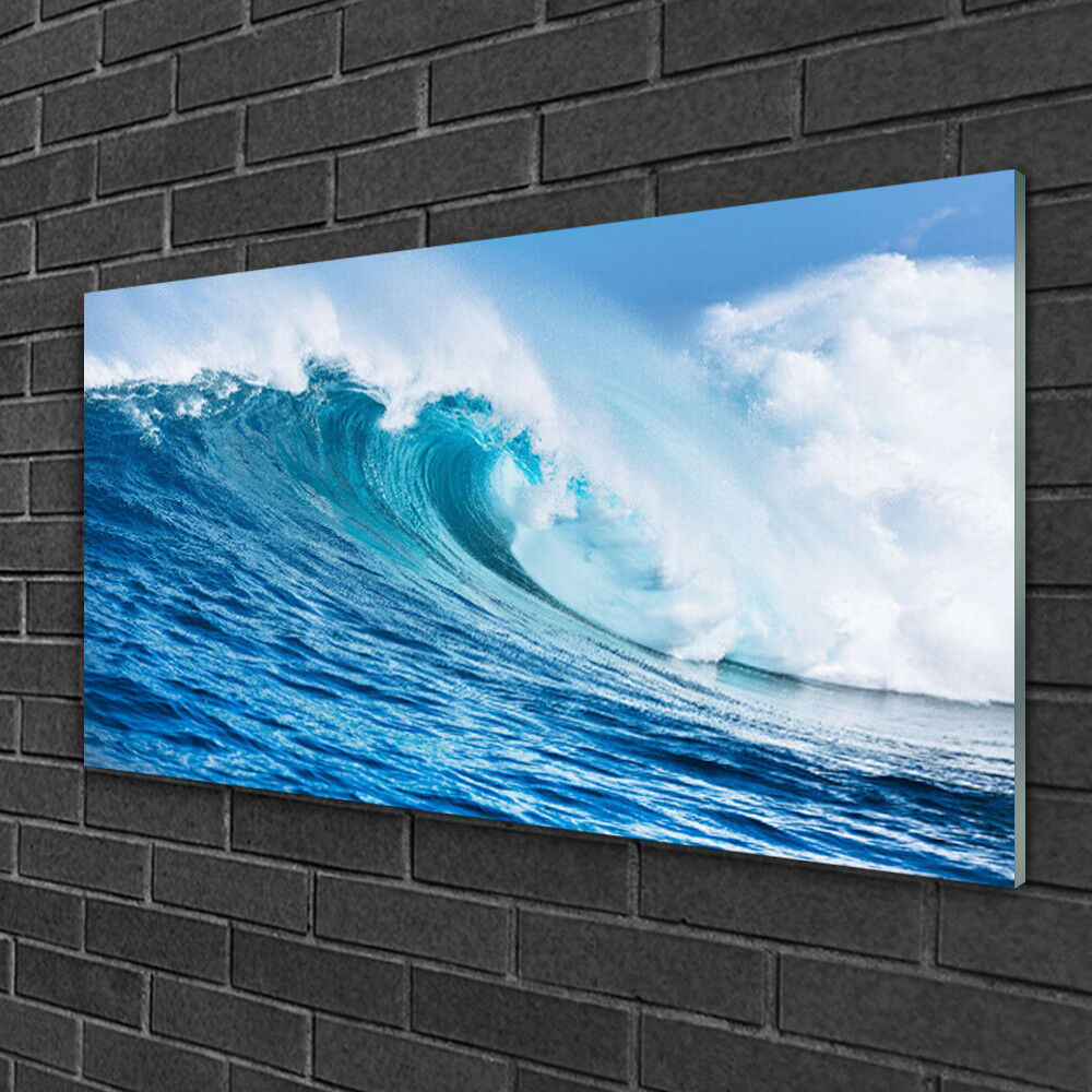 Glass print Wall art 100x50 Image Picture Wave Nature