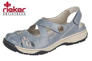 Rieker Damen Slipper Blau Leder Sandale 47478 12 Sommer p5QzN