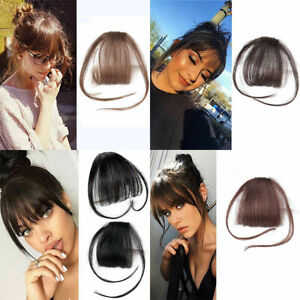 Women-Thin-Neat-Air-Bangs-Human-Hair-Extensions-Clips-In-Fringe-Front-Hair-Piece