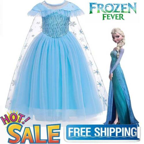 Girls Costume Princess Elsa Cosplay Kid Childrens Sequin Party Xmas Fancy Dress