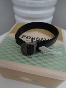 BNWT-Fossil-Black-Men-039-s-Leather-Cuff-Bracelet-with-Gift-Tin