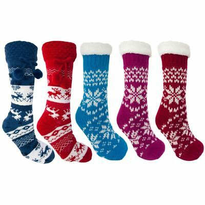 Womens Ladies Girl Cosy Slipper Socks Long Chunky Warm Winter Fairisle Christmas