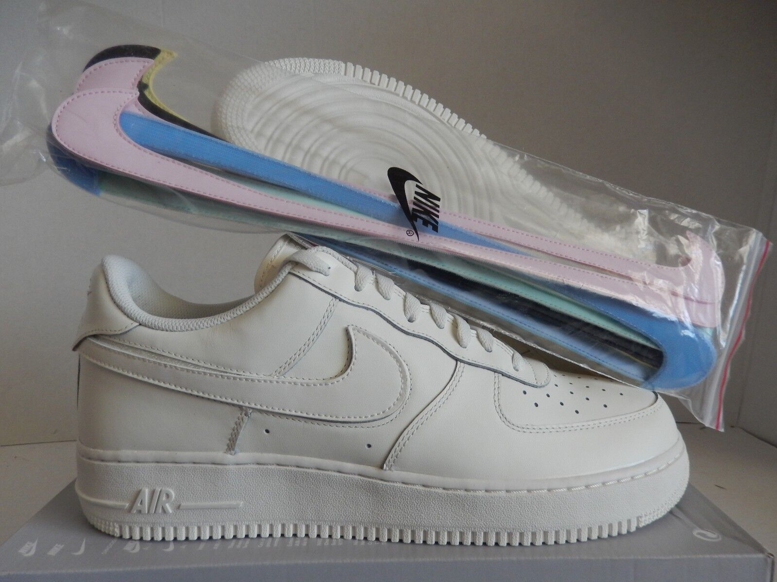 NIKE AIR FORCE 1 07 QS  ALL STAR REPLACEABLE SWOOSH  SAIL SZ 13 [AH8462-101]