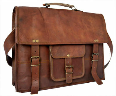New Men/'s Real Leather Vintage Brown Messenger Shoulder Laptop Bag Briefcase