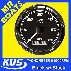 TACHOMETER-6000-RPM-DIGITAL-HOUR-METER-BLACK-on-BLACK-BOAT-MARINE-FREE-POST