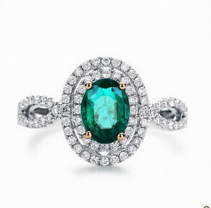 Natural-Green-Emerald-Engagement-Wedding-Diamonds-Ring-Solid-14K-Multi-Tone-Gold