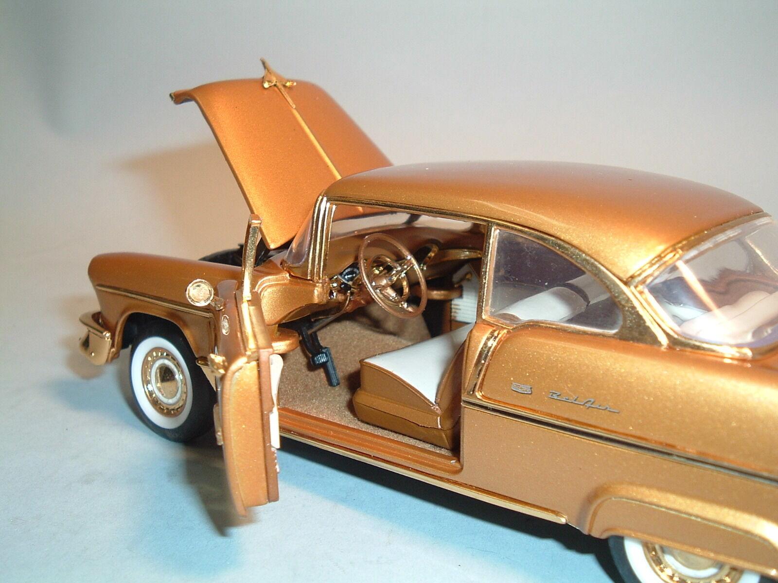 1955 1955 1955 CHEVROLET BEL AIR gold LE 1576 9900 FRANKLIN MINT 1 24 DIECAST & BOX c82d9e