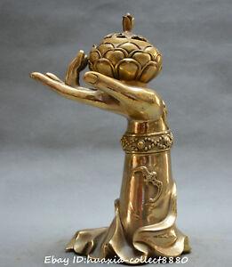 Chinese-Buddhism-old-bronze-Buddha-039-s-hand-lotus-flower-incense-burner-censer