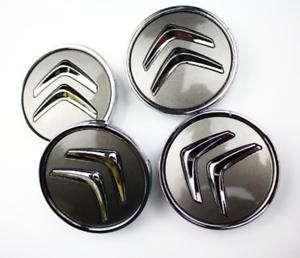 Citroen-4-x-60mm-Grau-Chrome-Alufelge-Nabenkappen-Nabendeckel-Satz