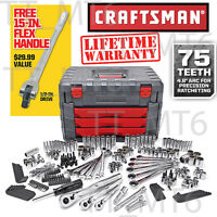 Craftsman 254 Pc Mechanics Tool Set With 75 Tooth Ratchet Wrench +15 Flex Handle
